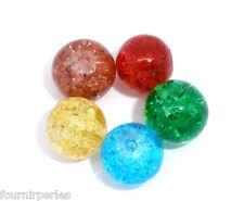 100 Mixte Perles Craquelées en Verre Pour Bracelet Collier 8mm Dia.
