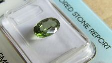 Rare IGI Certified 1.44ct Oval Cut Transparent Yellowish Green Diopside.
