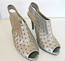 Size 6 Sandals Open Toe Evans Pewter Leather Beach Holiday Shoes Metal Detail