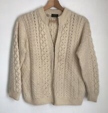 Christys Irish Store Girls XL Aran Cardigan Sweater Coat Ivory Wool Full Zip
