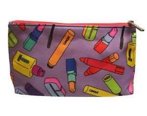Clinique Purple Chubby Print Cosmetic Travel Toiletry Makeup Bag Pouch