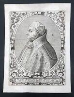 RARE Gravure XVIIIe PIE II PIUS II  Enea Silvio Piccolomini 1405-1458 16X12cm