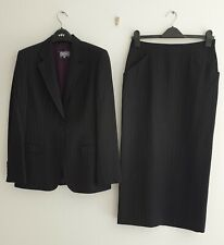 PER UNA M&S BLACK/LILAC LADIES WOOL WORK SUIT SIZE 12 JACKET + SIZE 10 SKIRT