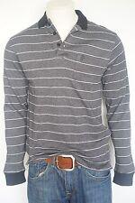 Pierre Cardin Herren Poloshirt,Schwarz/Weiß Streifen Langarm Baumwolle Poloshirt