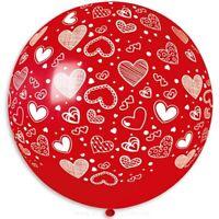 "1 x Großer Ballon 31 "" Herz Muster Latex Luftballon Hochzeit Party"