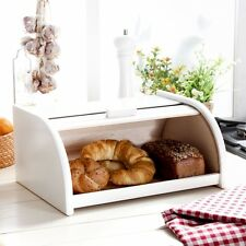 Wooden Bread Box Apollo Roll Top Bin Storage Loaf Kitchen Small - White