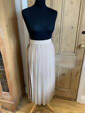 Marks & Spencer Collection Beige Camel Pleated Midi Skirt Plus Size UK 24 Long