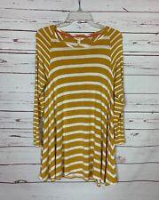 Matilda Jane Women's XS Extra Small Yellow Striped Walking on Sunshine Top Shirt