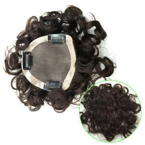 Women Natural Curly Mono Human Hair Clip in Topper Hair Piece For Loss Hair