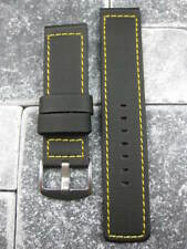 22mm PVC Composite Rubber Band Black Diver Watch Strap Kevlar Fabric Yellow X1