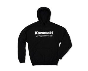 Kawasaki Let The Good Times Roll Pullover Black Hooded Sweatshirt K002-1302-BK