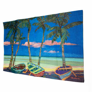 Trio of Boats Caribbean Palm Trees Tapestry Wall Hanging by Shari Erickson