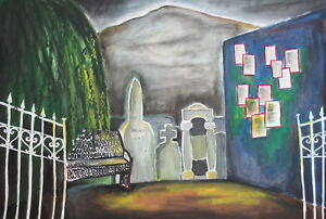 Vintage gouache drawing  theatre stage design graveyard