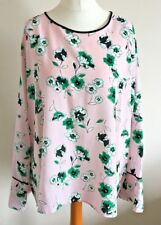M&S Collection Size 20 Ladies Pink Top With white & Green Floral Print, BNWT