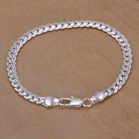 Elegant 925 Solid Silver Bangle Fashion Jewelry Women 5MM Snake Chain Bracelet