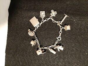 """Vintage Estate Sterling Silver Charm Bracelet 10 Charms 18.6gr 7"""""""