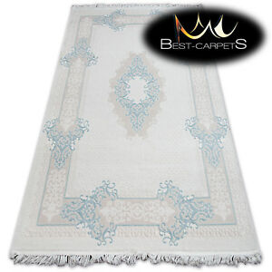 """SOFT ACRYLIC RUGS """"MIRADA"""" blue cream Thick And Densely Woven durable"""