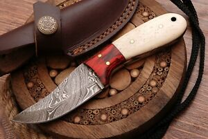 """6.0"""" HAND FORGED Damascus Steel Mini Skinner Neck Knife  with Sheath (NK1012)"""