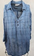 Vintage DCC Womens 3X Top Shirt Blouse 100% Cotton V Neck Teal Blue Ombre Plus