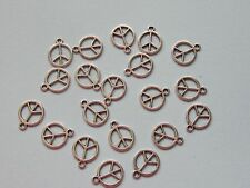 10 PEACE SIGNS CRAFT JEWELLERY MAKING ANTIQUE  SILVER PLATE CHARMS
