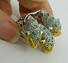 1.25 CTW Emerald / Ruby PANTHER RING sz 8 STERLING SILVER Gold Accents.