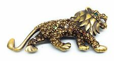 LION BROOCH PIN Crystal Pave Rhinestones Gold Tone Wild Cat Costume Jewelry