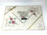 Vintage Christmas Placemats & Napkins Set By Sunweave Designs For Dining NOS