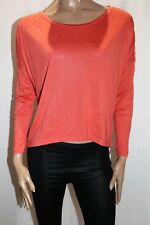 Cosi Bella Brand Orange Long Sleeve Fringe Trim Blouse Top Size S BNWT #TN74