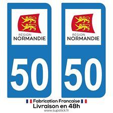2 STICKERS AUTOCOLLANT PLAQUE IMMATRICULATION DEPARTEMENT 50 REGION NORMANDIE