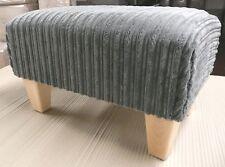 Footstool / Pouffe / Small Stool / Grey Jumbo Cord British Made