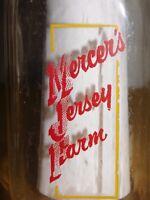 VINTAGE 1952 MERCER'S JERSEY FARM GOUVERNEUR NY  1 ONE QUART MILK BOTTLE