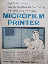 1/1960 PUB STROMBERG CARLSON GENERAL DYNAMICS S-C 4020 MICROFILM PRINTER AD