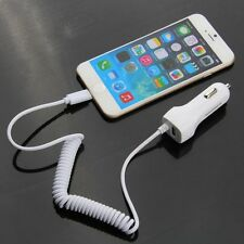 White 5V/2.1A Power USB Auto Car Charger Coiled Spring USB Cable For iPhone 6 5