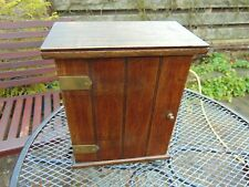 ANTIQUE WOODEN SOLID ENGLISH OAK SMALL CUPBOARD CABINET WITH SHELVES WITH LOCK