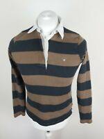 Womens Gant Long Sleeve Rugby Polo Shirt Brown Steipe small 36 Chest Vgc