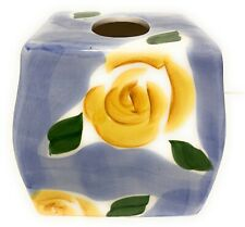 Wamsutta Tissue Box Cover Ceramic Hand Painted Blue Yellow Roses Vanity Dresse