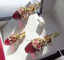 GARNET EARRINGS PENDANT SET HANDMADE RUSSIAN SOLID STERLING SILVER 925 24K GOLD