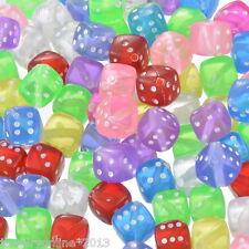 100 Mix Acryl Spielewürfel Augenwürfel Perlen Spacer Beads 9x9mm JO