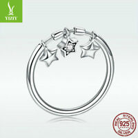Authentic S925 Sterling Silver Finger Ring with Star Charm Jewelry Gift Size 6-8