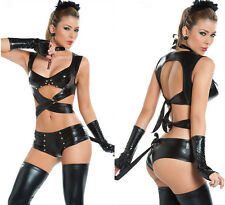 Cool Women PU Faux Leather Racy Sexy Lingerie Cosplay Costume Catsuit 4PCS SET