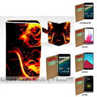 For LG Series Mobile Phone - Fire Flame Theme Print Wallet Phone Case Cover