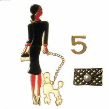 3 piece set designer inspired Lady walking poodle brooch with 5 pin and handbag