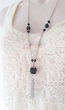 "Gorgeous 28"" long silver tone &  black bead & tassel chain pendant necklace"