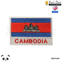 Cambodia National Flag With Name Embroidered Iron On Sew On Patch Badge