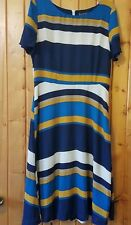 Modcloth Sugarhill Boutique Striped Ennoble Everyday A-line Dress 0 Blue Gold