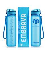 Embrava Tritan Best Sports Water Bottle 32oz Large Flip Top Blue Open Box NEW