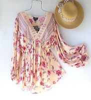 New~Angie~Peach Cream Pink Peasant Blouse Crochet Lace Boho Plus Size Top~2X