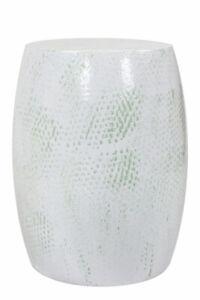 Metallhocker Modern Dekorativer Sitzhocker Design Hocker Weiß Hellgrün