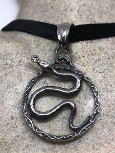 Vintage Argento Acciaio Inox Serpente Amuleto Pendente Collana