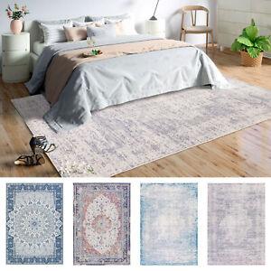 Summer Rugs Blue Teal Gray Distressed Soft Anti Slip Persian Vintage Carpet Mat